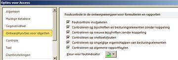 Instellingen voor foutcontrole in de categorie Ontwerpfuncties voor objecten