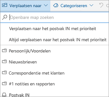 Postvak IN met prioriteit in de webversie van Outlook