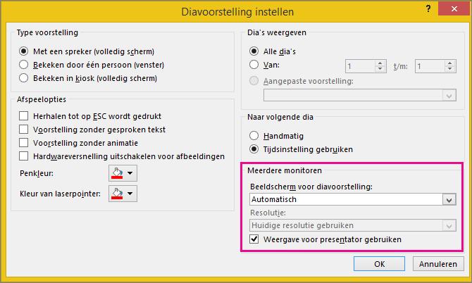 Monitoropties in het dialoogvenster Diavoorstelling instellen