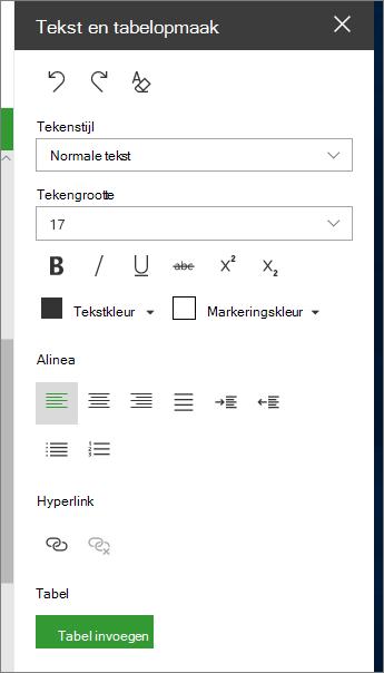 De pagina voor het opmaken van tekst en tabellen openen