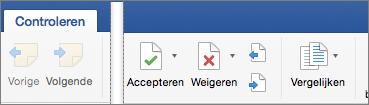 Op het tabblad Controle worden Accepteren, Weigeren, Vorige en Volgende wijziging weergegeven