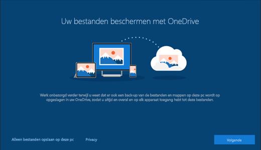 Schermafbeelding van instellingen voor Beveilig uw bestanden met OneDrive in Windows 10