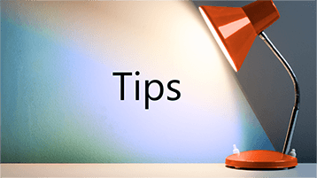 Een licht schijnt op het woord 'Tips'