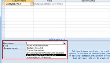 Argument Query in macro-actie OpenQuery