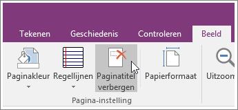 Schermafbeelding van de knop Paginatitel verbergen in OneNote 2016.