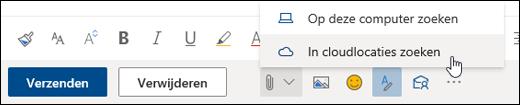 Schermafbeelding van het menu Bijvoegen met cloudlocaties geselecteerd