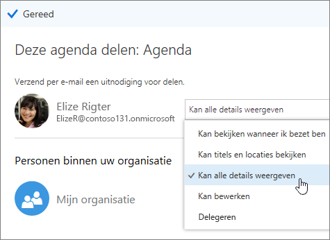 Schermafbeelding van het deelvenster Agenda delen met daarin toegangsopties weergegeven