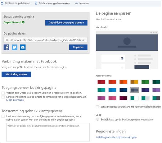 Boekings pagina met een nieuwe sectie met de naam ' de pagina aanpassen '.