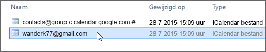 Kies het bestand dat eindigt op gmail.com om dit te importeren.