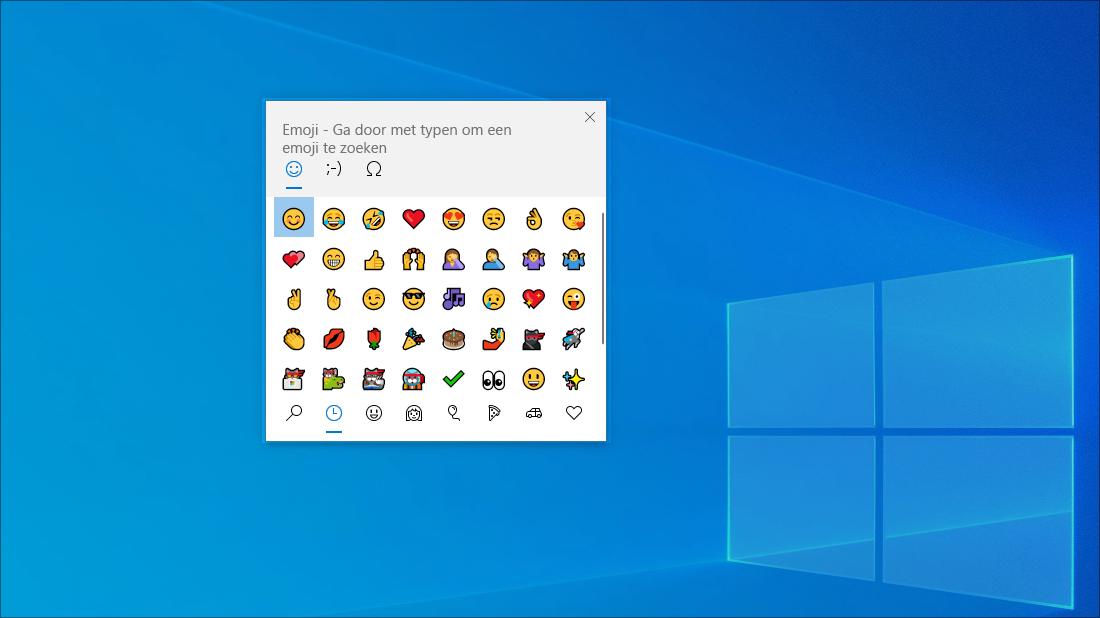 Het emoji-toetsenbord in Windows 10.