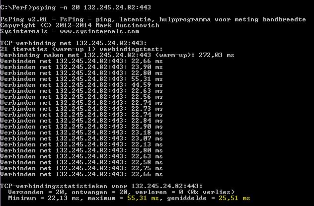 PSPing-opdracht psping -n 20 132.245.24.82:443 die een gemiddelde latentie van 25,51 milliseconden retourneert.