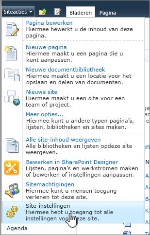 Site-instellingen in het menu Siteacties