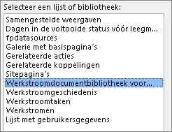 Lijst- of bibliotheekmenu selecteren