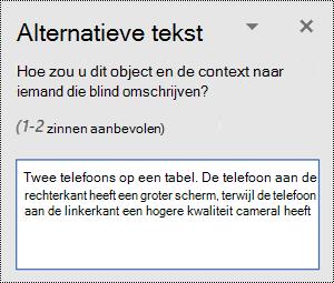 Deelvenster Alternatieve tekst met een voorbeeld van alternatieve tekst in Word voor Windows.