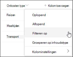 SharePoint Optie Kolomkoppen filteren op menu