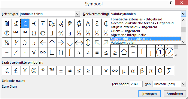 Toont de subset Subscript en superscript in het dialoogvenster Symbool in PowerPoint