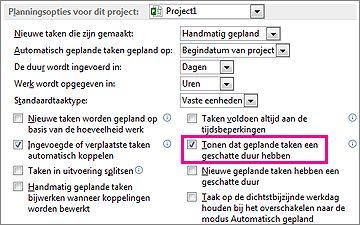 Het tabblad Planning van het dialoogvenster Opties met planningsopties voor dit project