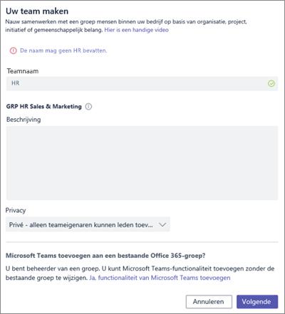 Schermafbeelding: Geblokkeerd voorbeeld in groepsnaambeleid in Microsoft Teams