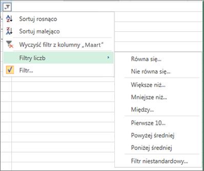 de aangepaste filteropties die beschikbaar zijn voor getalwaarden.