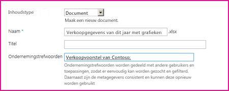 Gebruikers kunnen trefwoorden toevoegen in het eigenschappenvenster van een document