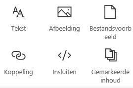 Schermafbeelding van het menu Webonderdeel in SharePoint.