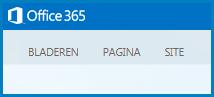 Screenshot van de standaardtabbladen voor het aanpassen van een openbare website op SharePoint Online