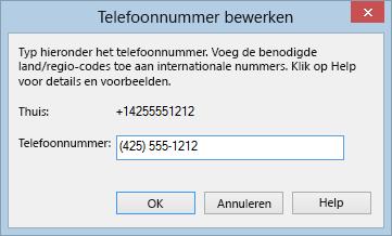Voorbeeld van Lync-telefoonnummer in de internationale kiesnotatie