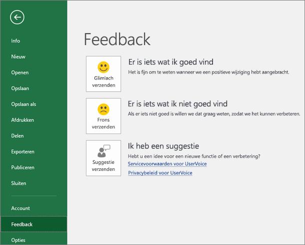 Klik op Bestand > Feedback om Microsoft te laten weten of u opmerkingen of suggesties over Excel hebt