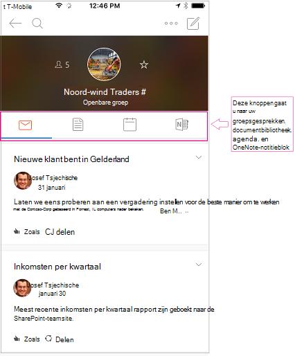 Discussieweergave van een groep in de mobiele app van Outlook-groepen