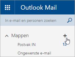 Een schermafbeelding van de knop Nieuwe map maken in Outlook.com.