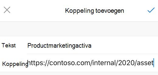 Dialoogvenster Koppeling toevoegen in Outlook voor iOS.