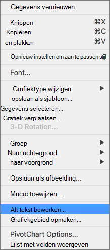 Menu Excel 365 bewerken alternatieve tekst voor draaigrafieken