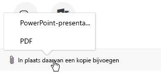 De Bijlageopties voor het verzenden van een presentatie in een e-mail zijn: presentatie of PDF-bestand