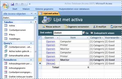 De databasesjabloon Activa gebruiken