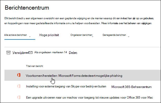 Bericht in Microsoft 365-Beheercentrum voor phishing-detectie met Microsoft Forms