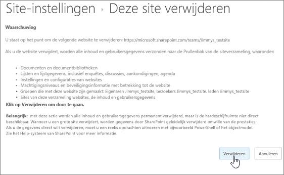 Het waarschuwings- en bevestigingsscherm voor het verwijderen van een site