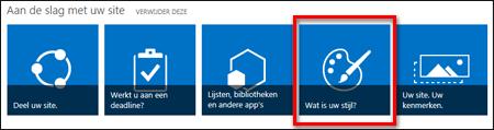 De nieuwe site in SharePoint online, met tegels waarop u kunt klikken om de site verder aan te passen