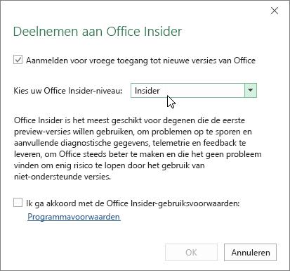 Dialoogvenster Deelnemen aan Office Insider met een optie voor het niveau Insider