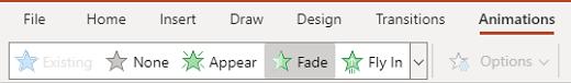Het deelvenster animaties in de webversie van PowerPoint.