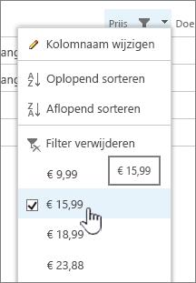 Klik op de kolomkop en kies de waarde waarop u wilt filteren.