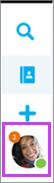Actieve gesprekken worden weergegeven onder de symbolen voor basistaken