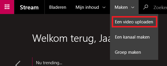Een video uploaden naar Microsoft Stream