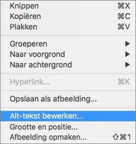De optie bewerken alternatieve tekst in het snelmenu in PowerPoint voor Mac