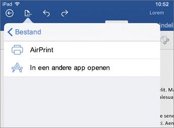 Gebruik het dialoogvenster voor afdrukken in Word voor iOS om het document af te drukken of in een andere app te openen.