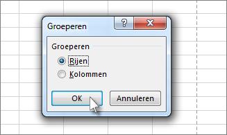 Klik op Rijen en klik vervolgens op OK