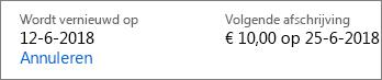 Koppeling om te annuleren en Office 365 voor Thuisgebruik-abonnement.