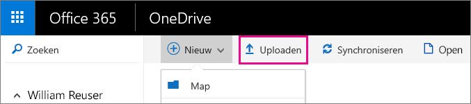 Bestanden uploaden naar OneDrive voor Bedrijven.