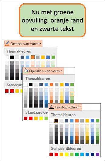 Een vorm met nieuwe kleuren voor opvulling, tekst en randen