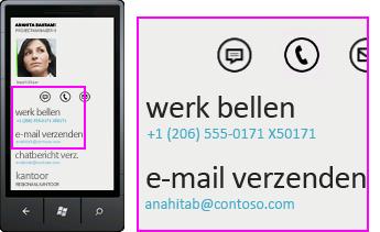 Schermafbeelding van activiteiten, zoals het kantoor bellen via Lync voor mobiele clients
