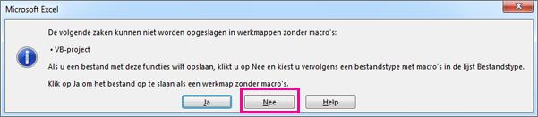 Werkmap bevat macro's of VBA-code